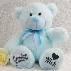 Personalised Grandma Teddy Bear Plush 30cm Light Blue
