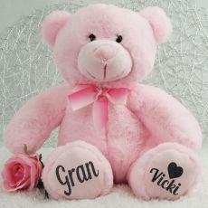 Personalised Grandma Teddy Bear Plush 30cm Light Pink