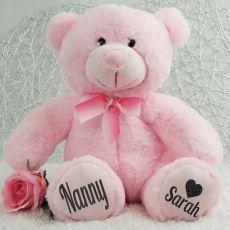 Personalised Nan  Teddy Bear Plush 30cm Light Pink