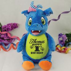 Personalised  Birthday Scorch the Dragon Cubbie Plush