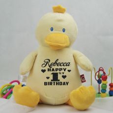 Personalised Birthday Bumbeeno Duck Cubbie Plush