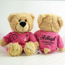 Get Well Teddy Bear Nurse Scrubs Pink