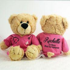 Personalised Teddy Bear Nurse Scrubs Pink