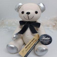 80th Birthday Signature Bear Black Bow