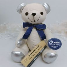 100th Birthday Signature Bear Blue Bow