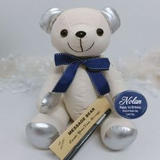 1st Birthday Signature Bear  Blue Bow