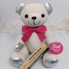 100th Birthday Signature Bear Pink Bow