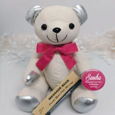 1st Birthday Signature Bear Pink Bow