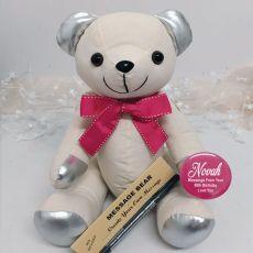 60th Birthday Signature Bear Pink Bow