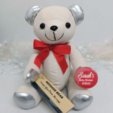 Personalised Baby Shower Signature Bear - Red Bow