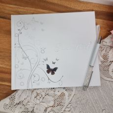 Guest Book White Silver Butterfly