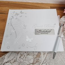 60th Birthday Personalised Guest Book White Silver Butterfly