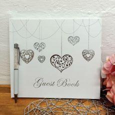 Guest Book White Silver Hearts