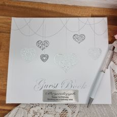 1st Birthday Guest Book White Silver Hearts