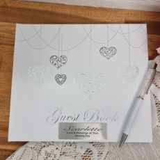 Naming Day Guest Book White Silver Hearts