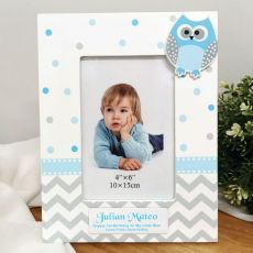 1st Birthday Blue Owl Photo Frame 6x4