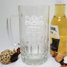50th Birthday Engraved Personalised Glass Beer Stein (F)