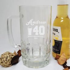 40th Birthday Engraved Personalised Glass Beer Stein (M)