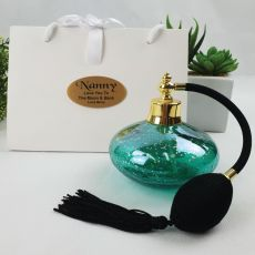 Nan Perfume Bottle w Personalised Bag - Green Gold Fleck