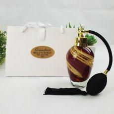 Grandma Perfume Bottle Atomiser w Personalised Bag - Red Swirl
