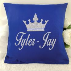 Glittered Crown Cushion Cover - Blue