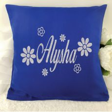 Glittered Flower Cushion Cover - Blue