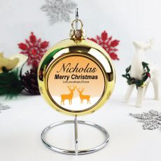 Personalised Christmas Bauble - Gold Reindeer