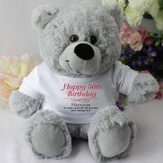 Personalised 50th Birthday Teddy Bear - Grey