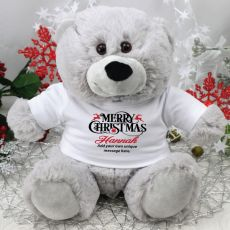 Personalised Merry Christmas Bear - Grey