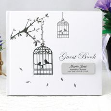 Personalised 40th Birthday Guest Book - Bird Cage