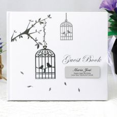 Personalised 70th Birthday Guest Book - Bird Cage