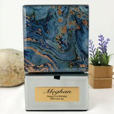 21st Birthday Trinket  Box Glass Mirrored Fortune Of Blue