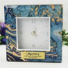 Mum Glass Desk Clock - Fortune of Blue