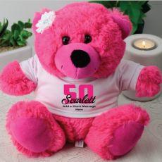 50th Birthday Personalised Teddy Bear  Hot Pink Plush