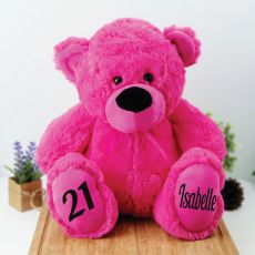 Personalised 21st Birthday Teddy Bear 40cm Plush  Hot Pink
