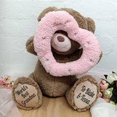 Grandma Bear With Peek-a-Boo Pink Heart 40cm