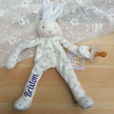Personalised Baby Dummy Holder - Blue Polkadot Bunny