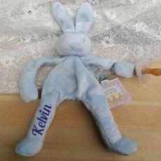 Personalised Baby Dummy Holder - Blue Bunny