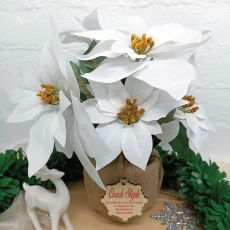 Coach Christmas Poinsettia Potted 6 Flowers White (38cmH)