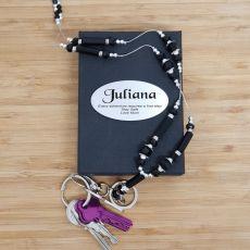 Personalised Lanyard Key holder Necklace - Black
