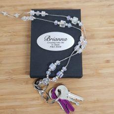 Personalised Lanyard Key holder Necklace - Crystal