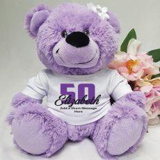 50th Birthday Personalised Teddy Bear  Lavender Plush