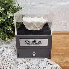 Everlasting White Rose Flower Girl Jewellery Gift Box