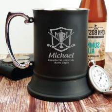 Hocky Coach Engraved Personalised Black Beer Stein Glass