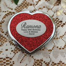 60th Birthday Glitter Heart Compact Mirror
