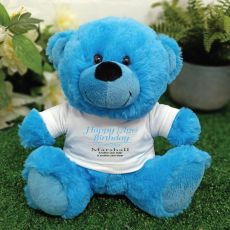 Personalised Birthday Bear Blue Plush