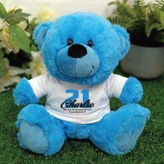 Personalised 21st Birthday Teddy Bear Plush Blue