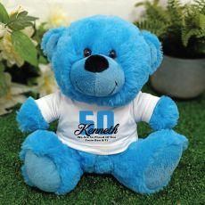 Personalised 50th Birthday Teddy Bear Plush Blue