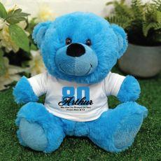Personalised 80th Birthday Teddy Bear Plush Blue