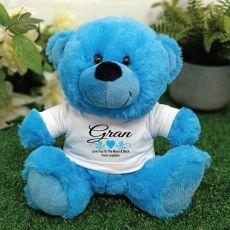Grandma Personalised Teddy Bear - Bright Blue